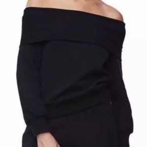 Good American Black Off The Shoulder Sweater